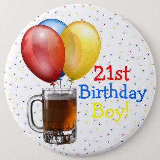 Large 21st Birthday Boy 6 Cm Round Badge