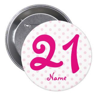 Large 21st Pink white polka dot badge age 21