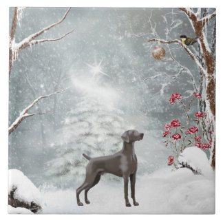 "Large (6"" X 6"") Ceramic Weimaraner Tile"