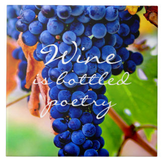 LARGE 6 X 6 WINE GRAPES DESIGN CERAMIC SQUARE TILE