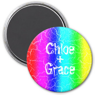 Large 7.6 Cm Rainbow Round Magnet for a Couple
