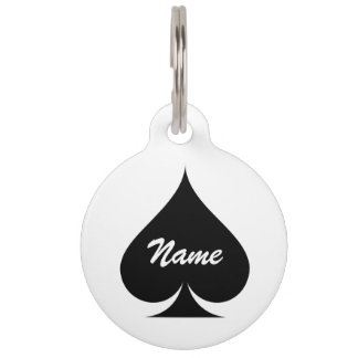 Large ace of spades name pet tag for dogs and cats