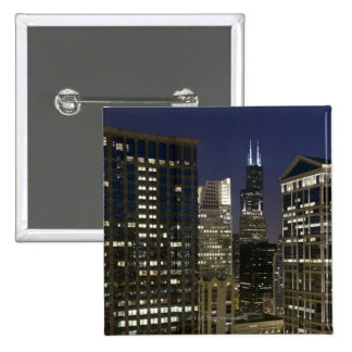 Large aerial view of downtown Chicago at dusk. 15 Cm Square Badge