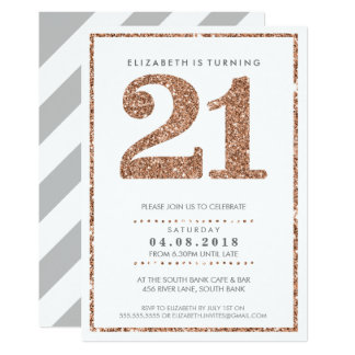 LARGE AGE NUMBER INVITE glam 21 rose gold glitter