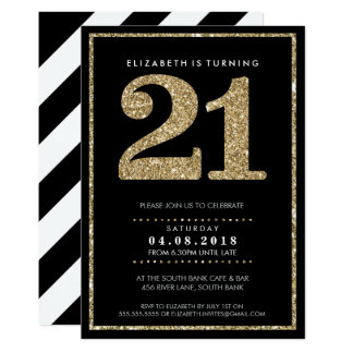 LARGE AGE NUMBER INVITE modern 21 gold glitter