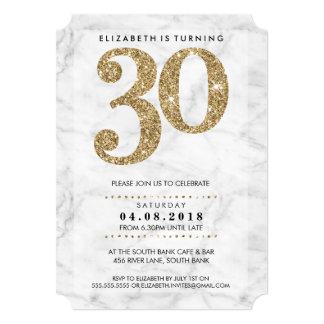 LARGE AGE NUMBER marble modern 30 gold glitter 13 Cm X 18 Cm Invitation Card