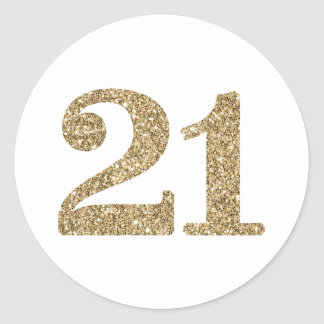 LARGE AGE NUMBER modern 21 gold glitter Classic Round Sticker