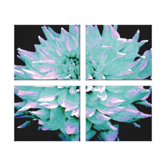 Large Aqua Blue Toned Dahlia Canvas Print