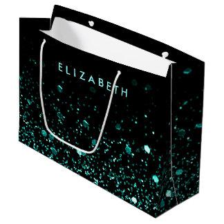 Large Aqua Teal Blue Green Glitter Black Gift Bag