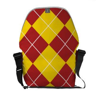 Large Argyle Pattern Rickshaw Messenger Bag