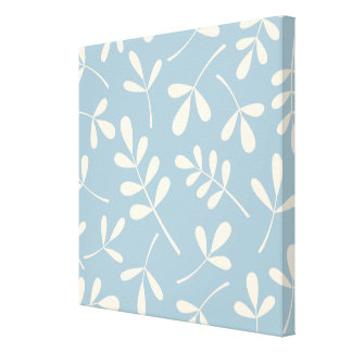 Large Assorted Cream Leaves on Blue Design Canvas Print