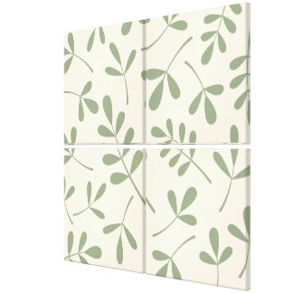 Large Assorted Green Leaves on Cream Design Gallery Wrap Canvas