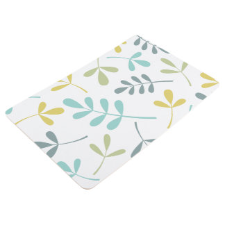 Large Assorted Leaves Color Mix on White Floor Mat