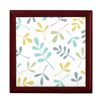 Large Assorted Leaves Color Mix on White Large Square Gift Box