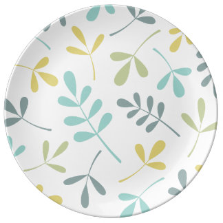 Large Assorted Leaves Color Mix on White Plate