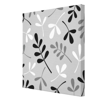 Large Assorted Leaves Monochrome Pattern Gallery Wrapped Canvas