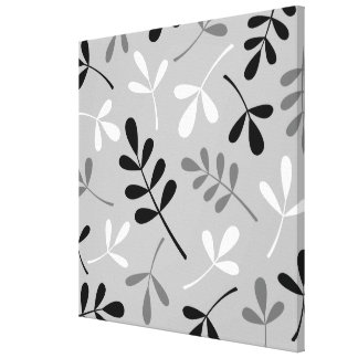 Large Assorted Leaves Monochrome Pattern Stretched Canvas Prints