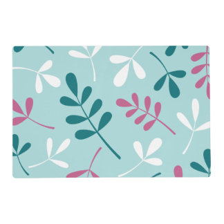 Large Assorted Leaves Teals White Pink Placemat