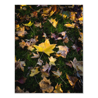 "Large Autumn Leaf on Grass 4.25"" x 5.5"" Personalized Announcements"