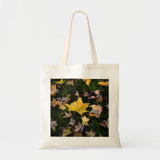 Large Autumn Leaf on Grass Canvas Bag