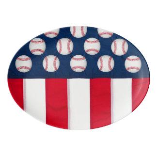 Large baseballs & American flag Porcelain Serving Platter