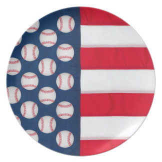 Large Baseballs & American Flag reusable plate