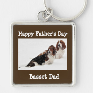 "Large ""Basset Dad"" ""Father""s Day"" Square Keychain"