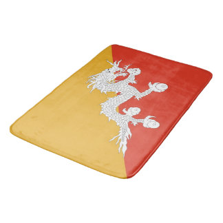Large bath mat with flag of Bhutan