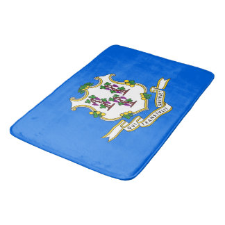 Large bath mat with flag of Connecticut, USA
