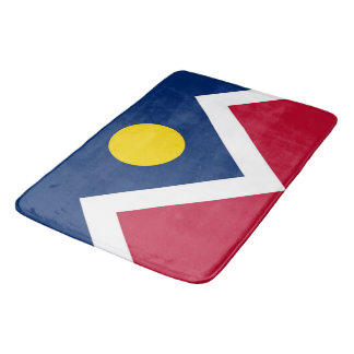 Large bath mat with flag of Denver, USA