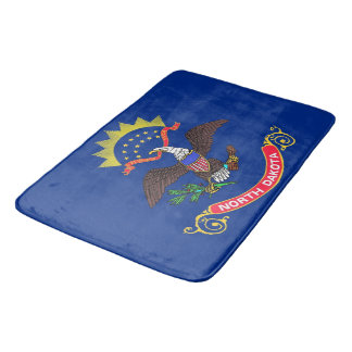 Large bath mat with flag of North Dakota, USA