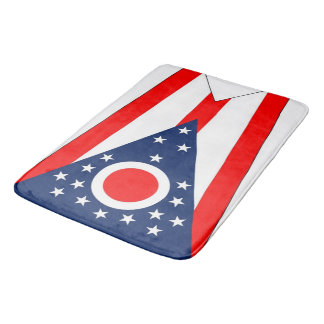 Large bath mat with flag of Ohio State, USA