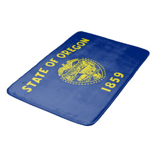 Large bath mat with flag of Oregon State, USA