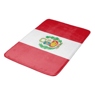 Large bath mat with flag of Peru