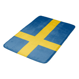 Large bath mat with flag of Sweden