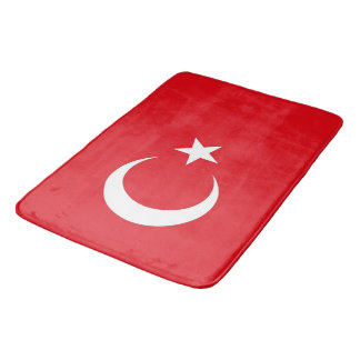 Large bath mat with flag of Turkey