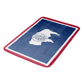 Large bath mat with flag of Wyoming, USA