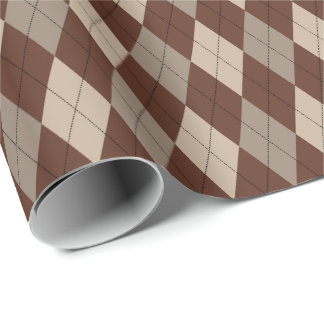 Large Beige and Brown Argyle Wrapping Paper