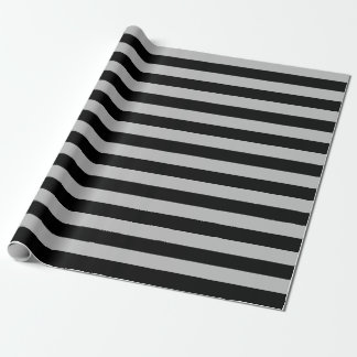 Large Black and Gray Stripes Wrapping Paper