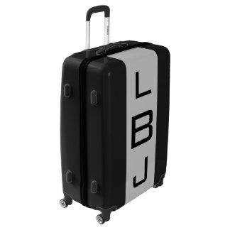 LARGE Black + Light Gray Monogrammed Luggage