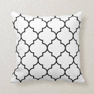 Large Black on White Background Quatrefoil Throw Cushion