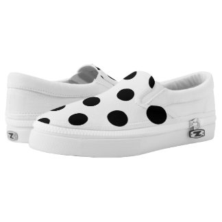 Large Black Polka Dot Pattern - Custom Color White Slip On Shoes