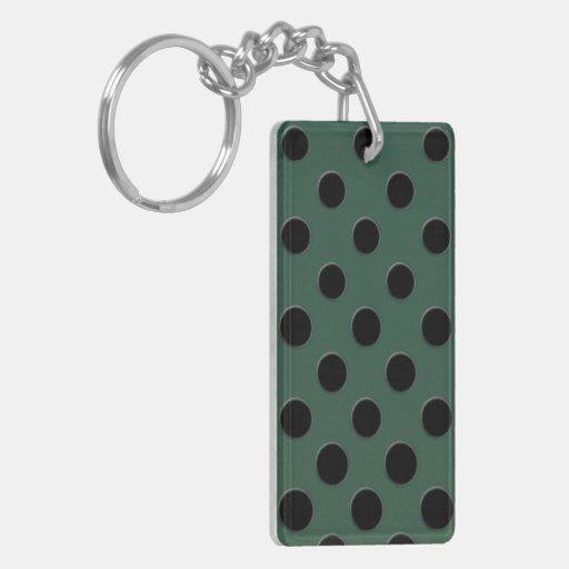 Large Black polka dots dark velvet green Acrylic Keychain