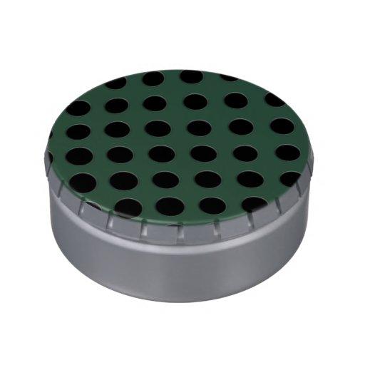 large black polka dots on velvet green jelly belly tin