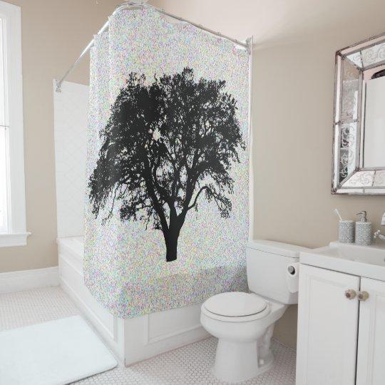 Large Black Tree Print Design Cool Shower Curtain