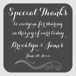 Large Black White Custom Thanks Wedding Stickers
