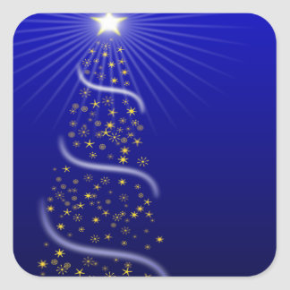 Large Blue Christmas Tree with Golden Stars Square Sticker