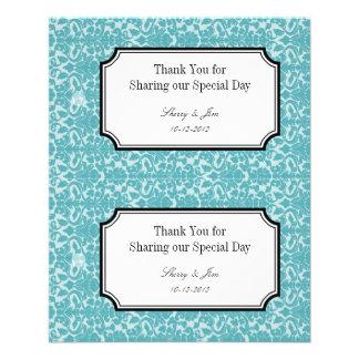 Large blue damask diy wedding gift bag hang tag 11.5 cm x 14 cm flyer