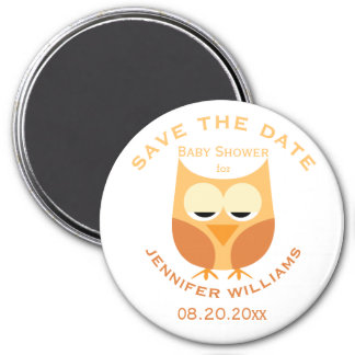Large Blue Owl Boy Baby Shower Save The Date Magnet
