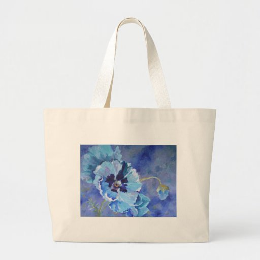 Large Blue Poppies Canvas Bag